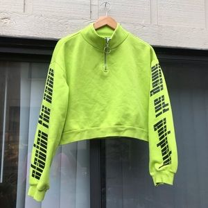 Neon rave green 2000s pull over. Zipper details